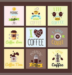 coffee badge food cards hand drawn calligraphic vector image vector image