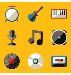 Flat icon set Music vector image