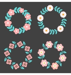 Floral Frame Collection Cute retro flowers vector image vector image