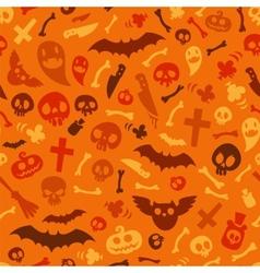 Halloween Symbols Seamless Pattern Orange vector image vector image