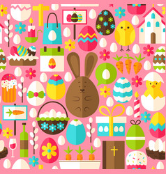 pink easter seamless pattern vector image