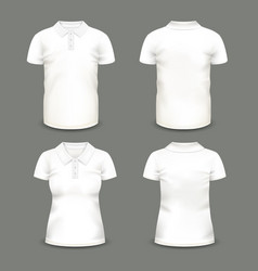set of isolated woman and man polo shirts vector image