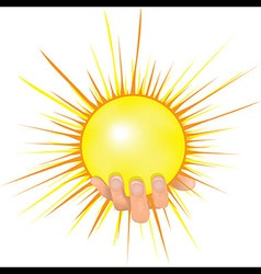 Sun in people hand vector image vector image