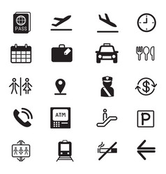 airport silhouette icons set vector image