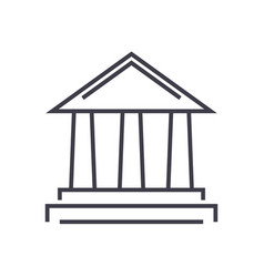 bank line icon sign on vector image