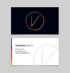 Business-card-letter-v vector
