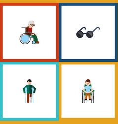 flat icon handicapped set of spectacles vector image