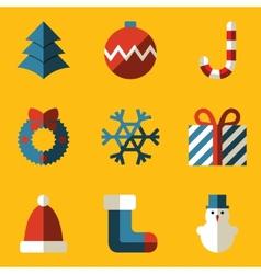 Flat icon set Merry Christmas vector image