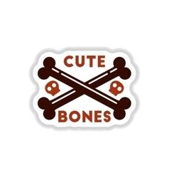 paper sticker on background of cross bones vector image vector image