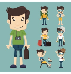 set of traveler people eps10 format vector image