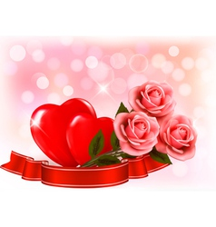Valentines day background Three red roses with two vector image