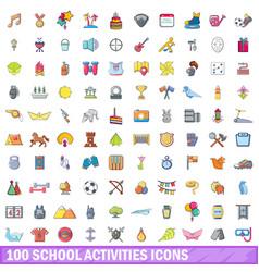 100 school activities icons set cartoon style vector