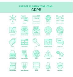 25 green gdpr icon set vector