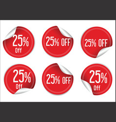 25 percent off red paper sale stickers vector