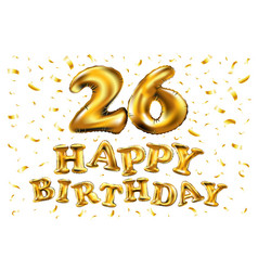 26 anniversary celebration with brilliant gold vector image