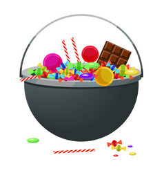 A cauldron with different candy and sweets vector
