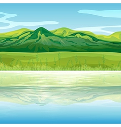 A mountain across the lake vector