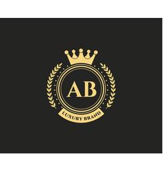 Ab initial letter gold calligraphic feminine vector