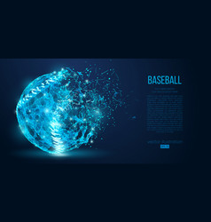abstract baseball ball low poly neon wire vector image