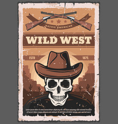 american wild west skull and rifles vector image