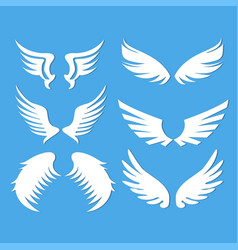 angel wings set blue background vector image