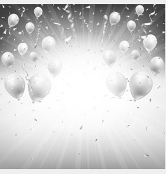 background silver balloons and confetti vector image