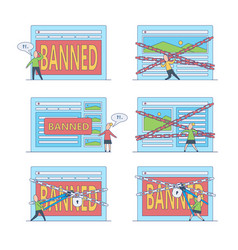 Banned website and access prohibition concept set vector