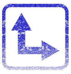 Bifurcation arrow right up framed textured icon vector