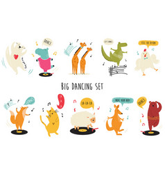 big set funny and cute dancing animals vector image