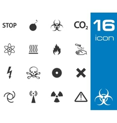 black danger icons set on white background vector image