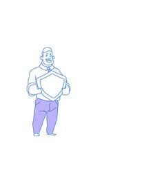 businessman holding shield defender security vector image