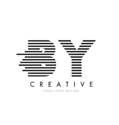 by b y zebra letter logo design with black and vector image