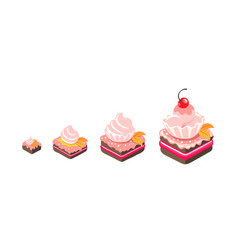 cakes sizes dessert reward pastry different vector image