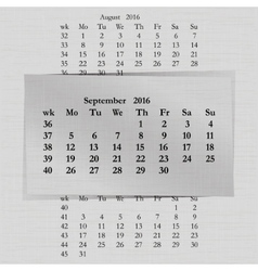 calendar month for 2016 pages September start vector image