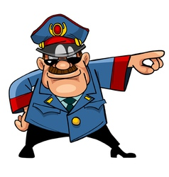 cartoon character menacing police indicates hand vector image