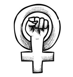 Cartoon image of feminism symbol vector