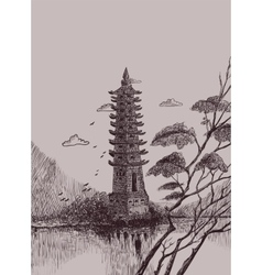 Chinese landscape with a pagoda vector