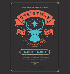 christmas party flyer invitation retro typography vector image