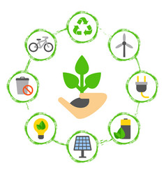 Concept with eco icons hand with a green plant vector