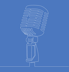 continuous line drawing retro microphone icon line vector image