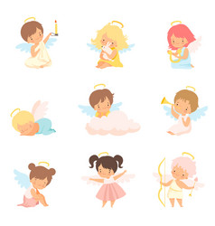 Cute baby angels with nimbus and wings set vector