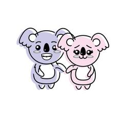 cute couple koala wild animal with beautiful vector image