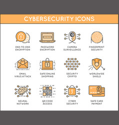 Cyber security and crime outline icon set vector