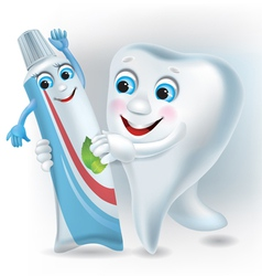 Dance of the tooth and toothpaste vector