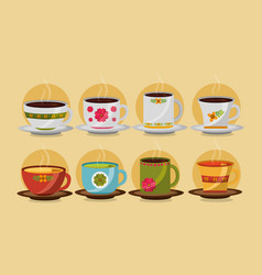 decorative flower cups coffee and tea collection vector image