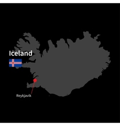 detailed map iceland and capital city reykjavik vector image