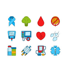 diabetic medical symbols insulin syringe and vector image