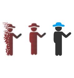 Dispersed pixel halftone talking gentleman icon vector