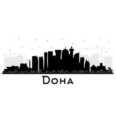 Doha qatar city skyline silhouette with black vector