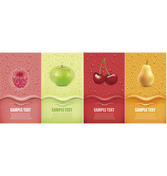 Drinks and juice background with drops vector